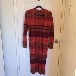 Red stripped duster cardigan